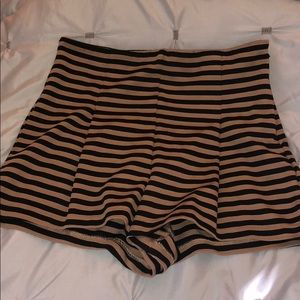 Free People Striped High-Waisted Shorts